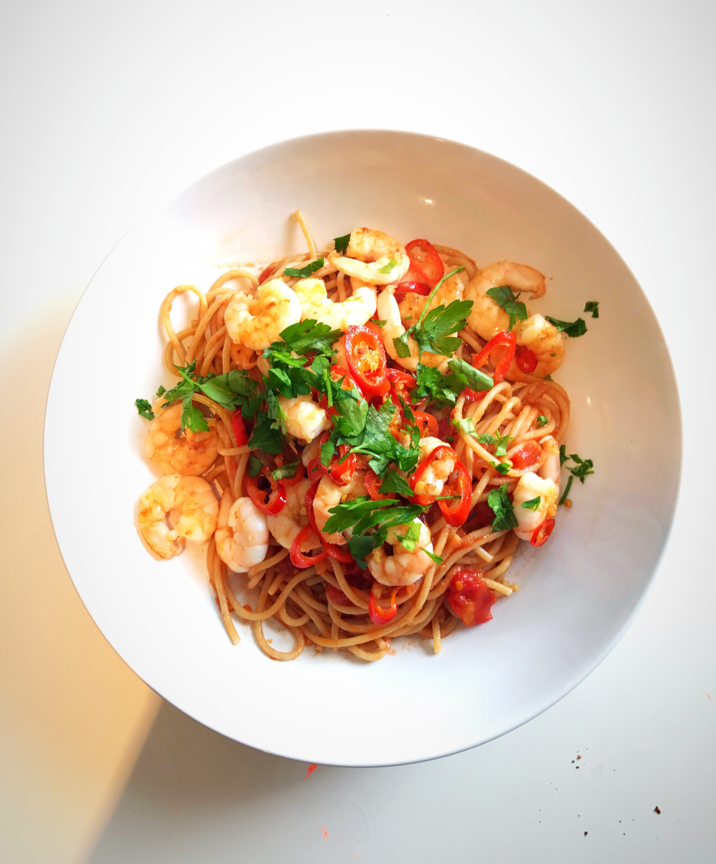 how to cook chilli prawn pasta
